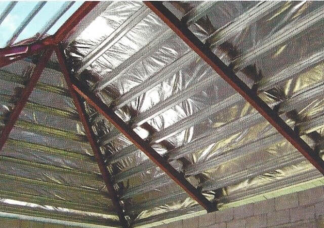 Installed roof thermal insulation foil